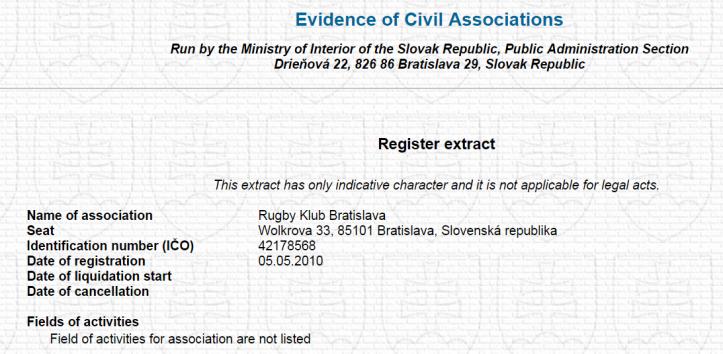RKB evidence of registration