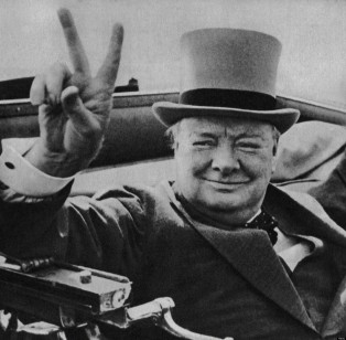 British wartime leader Winston Churchill with his famous V for victory sign. Image from the archives of Press Portrait Service (formerly Press Portait Bureau) 1946 image. Image shot 1946. Exact date unknown.