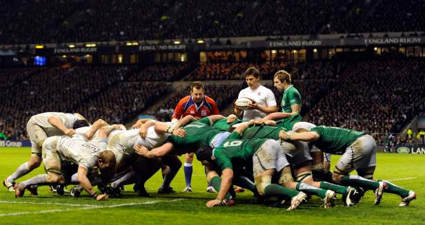 England's scrum pack down just short of Ireland's line during their Six Nations rugby union match at Twickenham Stadium in London