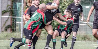Even two players can't stop Giuseppe Porcaro, no wonder he's so wanted on the Slovak rugby market