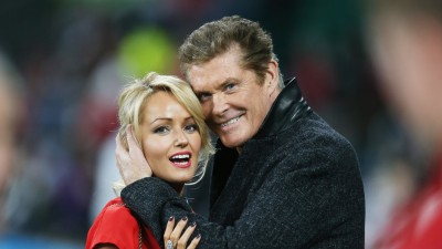 Actor and singer David Hasselhoff hugs welsh wife Hayley Roberts during the 2015 RWC