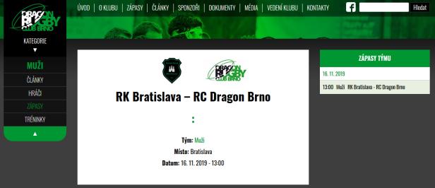 Rugby Klub Bratislava vs Rugby Club Dragon Brno